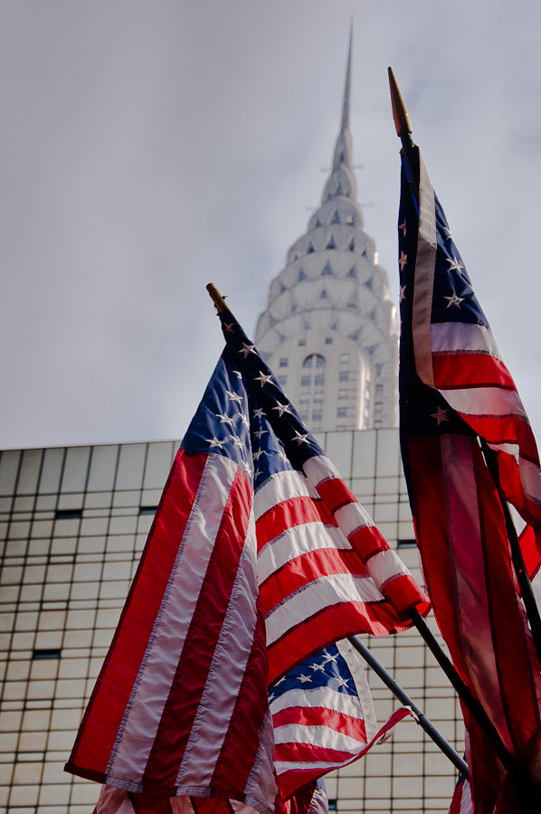 Chrysler Building and Flags