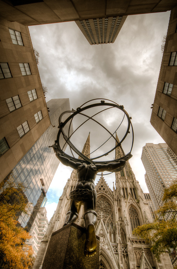 Atlas and St. Patrick's Cathedral, New York