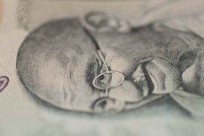 An Indian banknote shot using a Tamron 90mm macro lens. Exposure -  0.1 seconds at f5