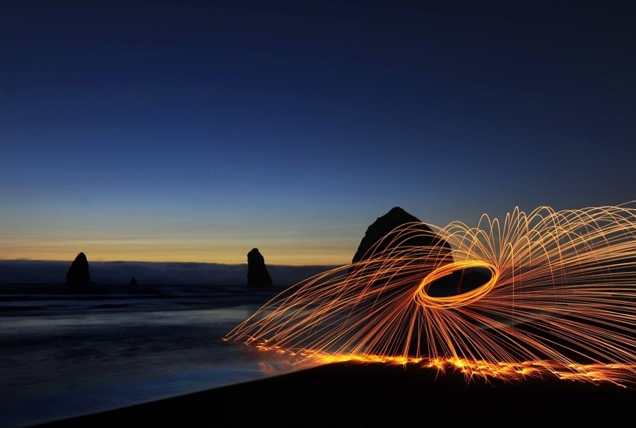 Flying Sparks on Cannon Beach